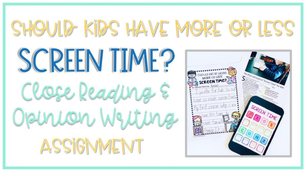 screen rime reading and writing activity