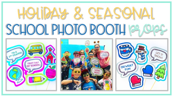 create a classroom photo booth for a fun way to celebrate back to school and classroom holidays