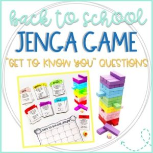 Back to School Jenga Game for building classroom community