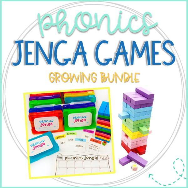 Jenga Games for Phonics make great literacy centers