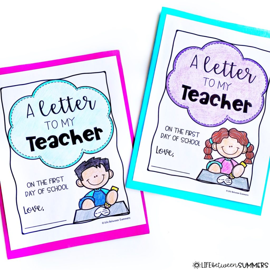 A Letter from Your Teacher book companion covers for back to school activities