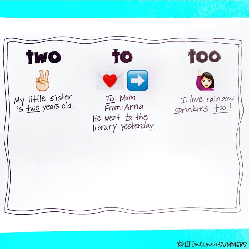Anchor chart for to, two, and too