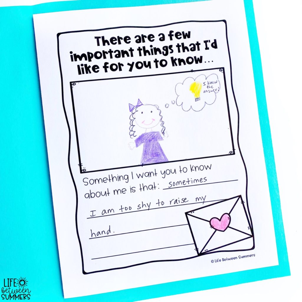 A Letter from Your Teacher book companion for back to school activities. Page that says, There are a few important things I'd like for you to know.