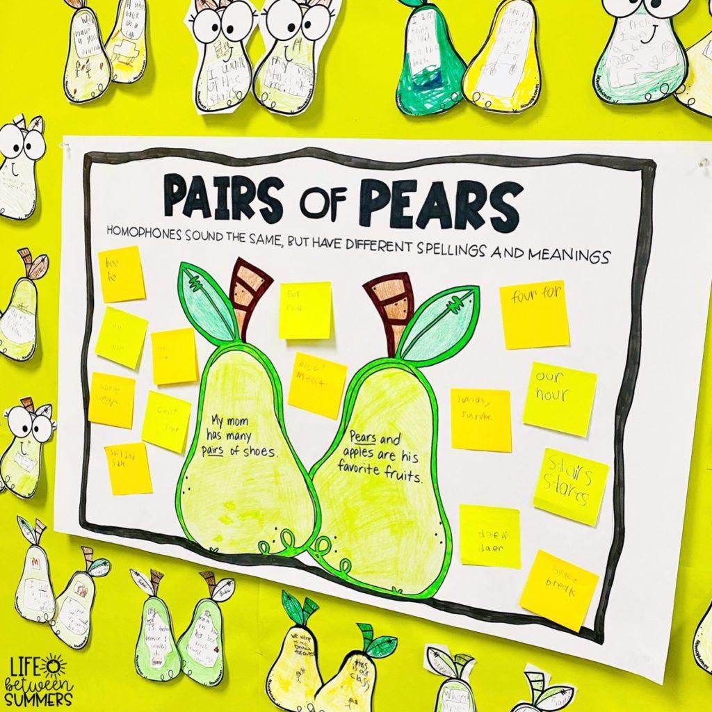 Pairs of pears homophones bulletin board