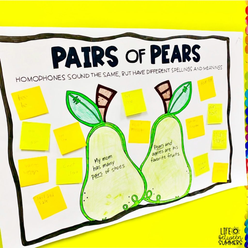 Pairs of Pears anchor chart for homophones activities