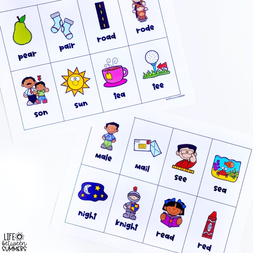 Homophones matching cards for English Language Learners and differentiation